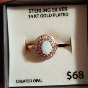 Sterling silver 14kt gold plated opal ring